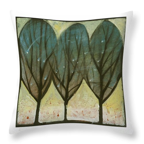Trees Throw Pillow featuring the painting Indian Summer Snow by Tim Nyberg
