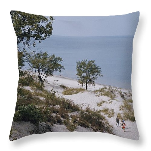 lake Michigan Throw Pillow featuring the photograph Indiana Dunes State Park Provides by B. Anthony Stewart
