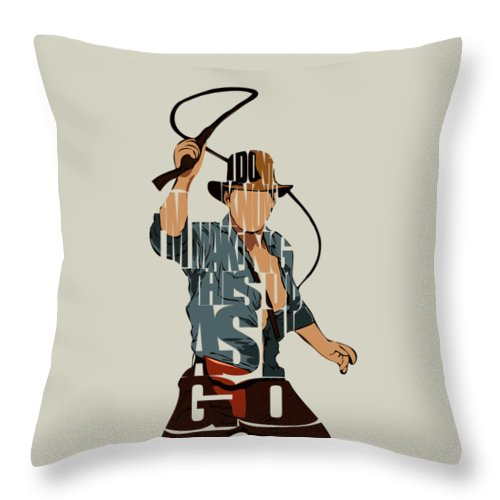 Indiana Jones Throw Pillow featuring the painting Indiana Jones - Harrison Ford by Inspirowl Design