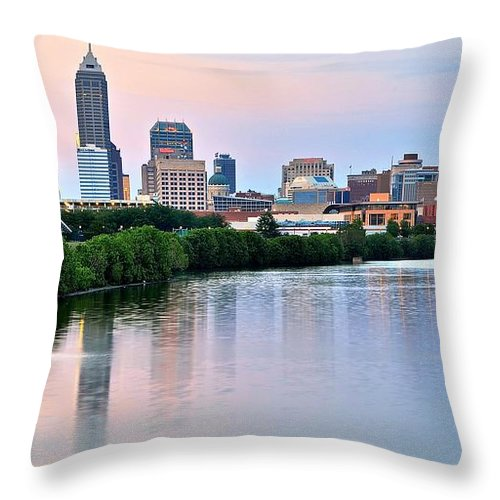 Indianapolis Throw Pillow featuring the photograph Indianapolis At Dusk by Frozen in Time Fine Art Photography