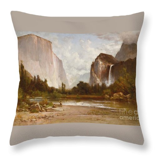 Thomas Hill Throw Pillow featuring the painting Indians Fishing In Yosemite by MotionAge Designs