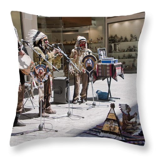 Indians Throw Pillow featuring the photograph Indians In Greece by Madeline Ellis