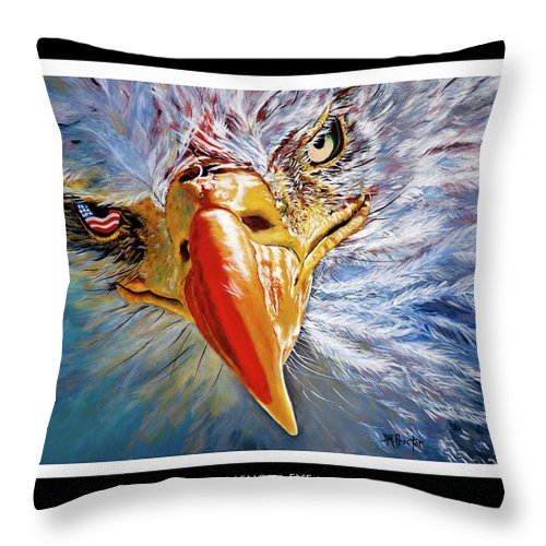 Bald Eagle Throw Pillow featuring the painting Indigenous Eyecon - Bald Eagle On Black by Donna Proctor