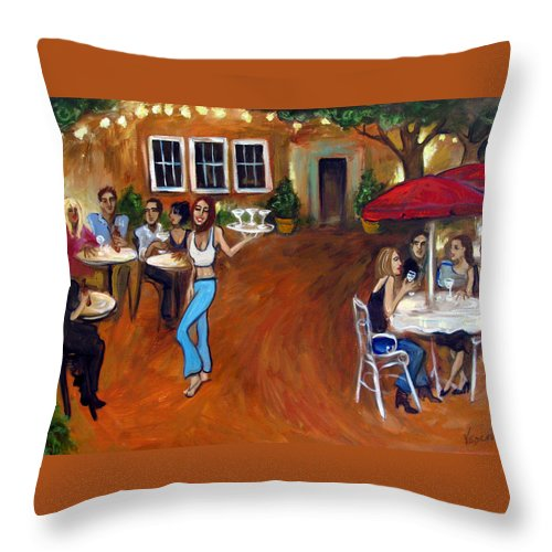 Bar Throw Pillow featuring the painting Indigo Alley by Valerie Vescovi