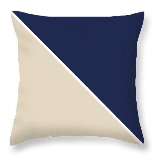 Blue Throw Pillow featuring the digital art Indigo and Sand Geometric by Linda Woods
