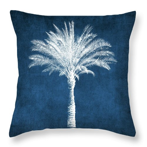 Palm Tree Throw Pillow featuring the mixed media Indigo and White Palm Tree- Art by Linda Woods by Linda Woods