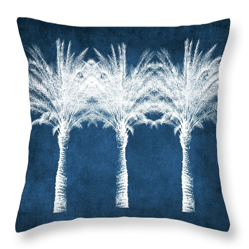 Palm Tree Throw Pillow featuring the mixed media Indigo And White Palm Trees- Art By Linda Woods by Linda Woods