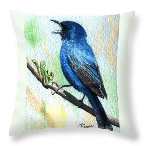 Bird Throw Pillow featuring the painting Indigo Bunting by Lynn Quinn