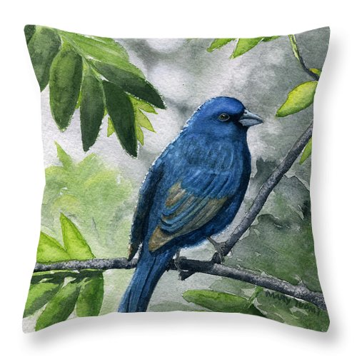 Blue Throw Pillow featuring the painting Indigo Bunting by Mary Tuomi