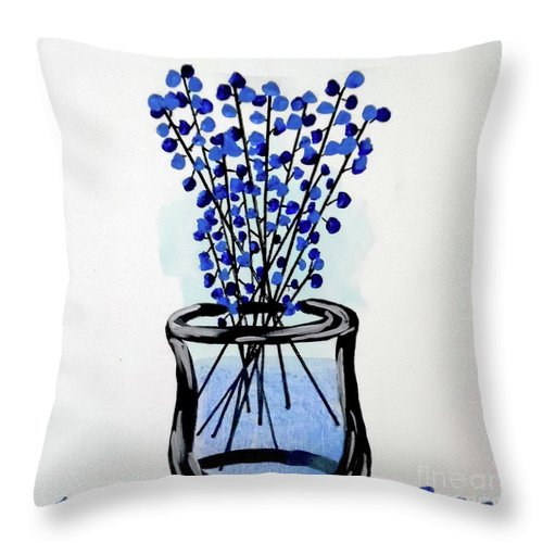 Vase Of Flowers Throw Pillow featuring the painting Indigo Falls by Jilian Cramb - AMothersFineArt