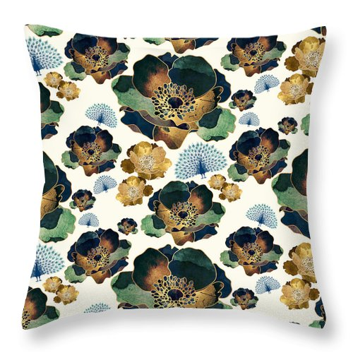 Indigo Throw Pillow featuring the digital art Indigo Flowers And Peacocks by Spacefrog Designs