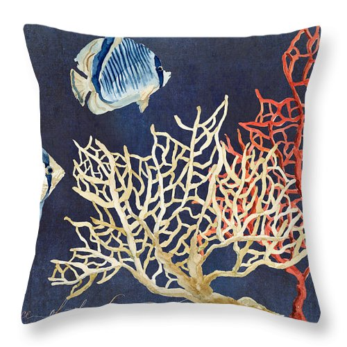 Red Fan Coral Throw Pillow featuring the painting Indigo Ocean - Silence Of The Deep by Audrey Jeanne Roberts