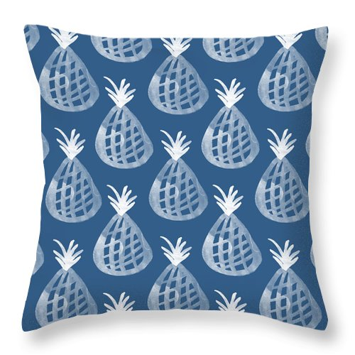 Indigo Throw Pillow featuring the mixed media Indigo Pineapple Party by Linda Woods