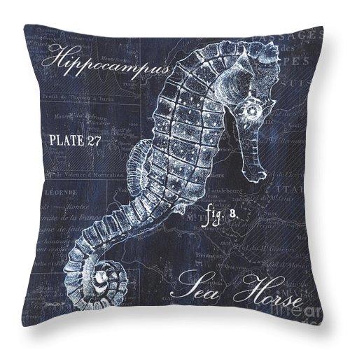 Seahorse Throw Pillow featuring the painting Indigo Verde Mar 1 by Debbie DeWitt