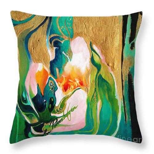 Lin Petershagen Throw Pillow featuring the painting Indigold by Lin Petershagen