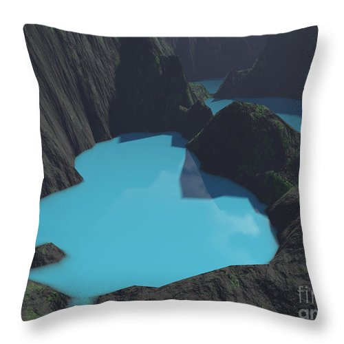 Basalt Throw Pillow featuring the digital art Indonesian Crater Lakes by Gaspar Avila
