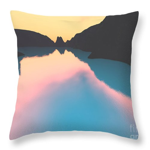 Crater Throw Pillow featuring the digital art Indonesian Crater Lakes II by Gaspar Avila