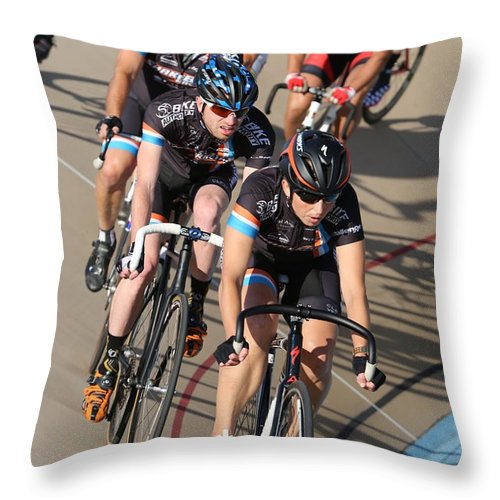 Pursuit Throw Pillow featuring the photograph Indoor Bike Race by Douglas Sacha
