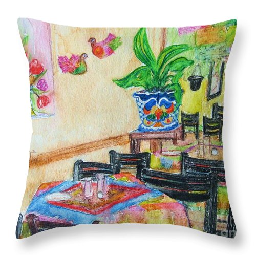 Watercolor Throw Pillow featuring the painting Indoor Cafe - Gifted by Judith Espinoza