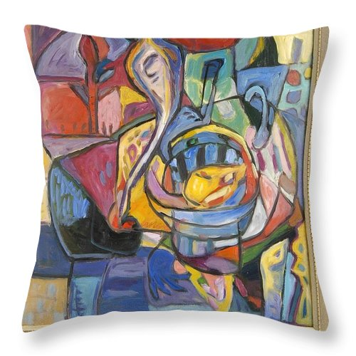 Throw Pillow featuring the painting Industrial Thinking Cap by Mykul Anjelo