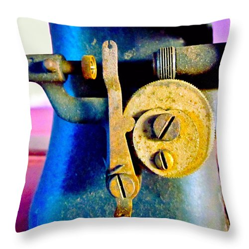 Photograph Of Sewing Machine Throw Pillow featuring the photograph Industry In Color by Gwyn Newcombe