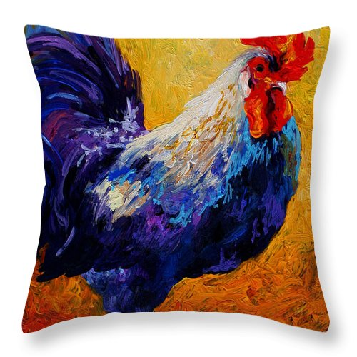 Rooster Throw Pillow featuring the painting Indy - Rooster by Marion Rose