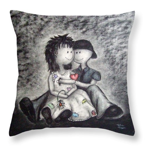 Ragdolls Throw Pillow featuring the drawing Inevitable by Cynthia Campbell