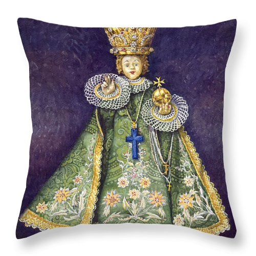 Watercolour Throw Pillow featuring the painting Infant Jesus Of Prague by Yuriy Shevchuk