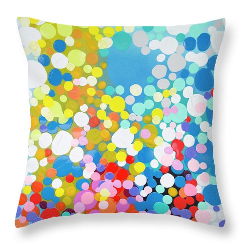 Abstract Throw Pillow featuring the painting Infatuation by Claire Desjardins