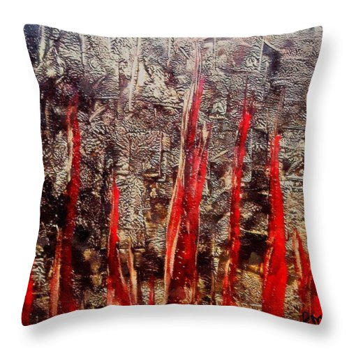 Inferno Throw Pillow featuring the painting Inferno by Dragica Micki Fortuna