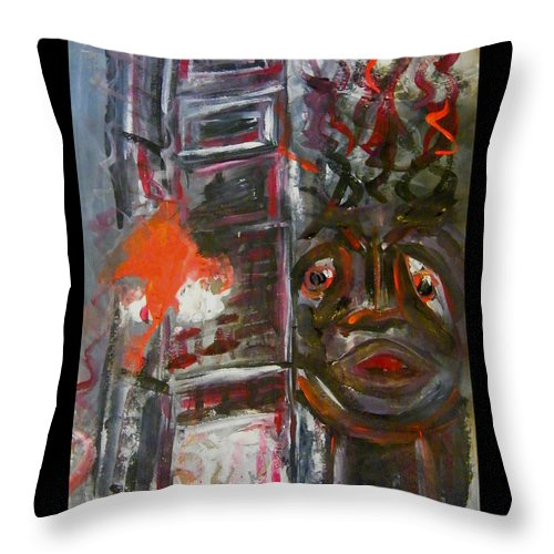 Inferno Throw Pillow featuring the painting Inferno by Mimulux patricia No