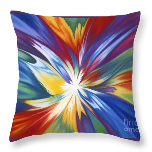 Abstract Throw Pillow featuring the painting Infinite Life Force by Lucy Arnold