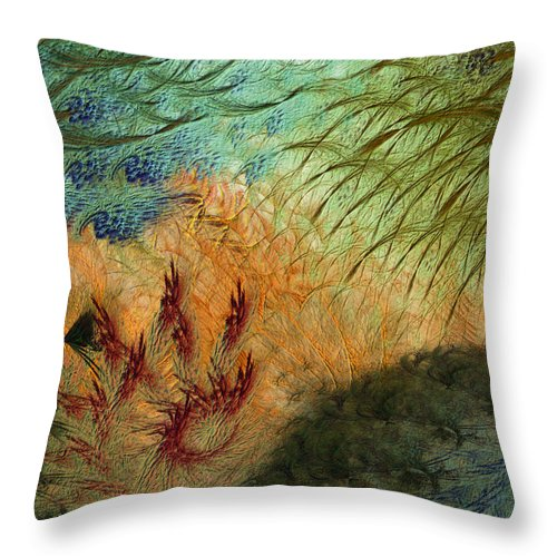 Abstract Throw Pillow featuring the digital art Inflammation by Casey Kotas