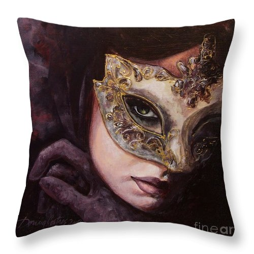 Art Throw Pillow featuring the painting Ingredient Of Mystery by Dorina Costras