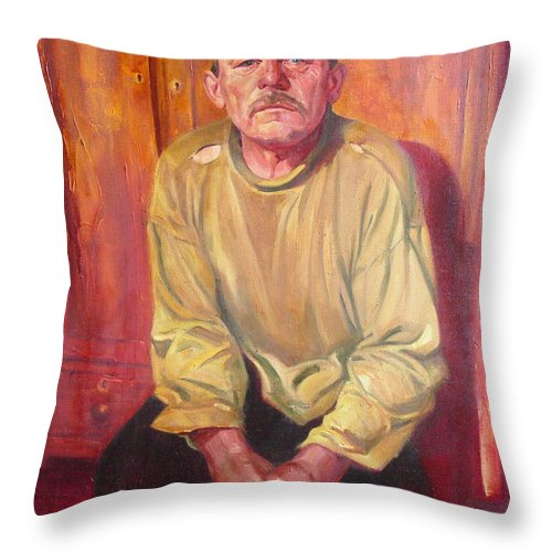 Oil Throw Pillow featuring the painting Inhabitant Of Chernobyl Zone by Sergey Ignatenko