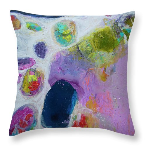 Abstract Throw Pillow featuring the painting Inherent by Claire Desjardins