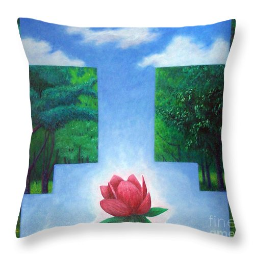 Spiritual Throw Pillow featuring the painting Inner Bliss by Brian Commerford