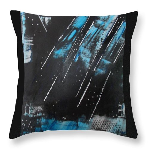 Cosmos Eternity Space Emotion Galaxy Peace Black Blue White Vibrant Throw Pillow featuring the painting Inner Flight by Sharyn Winters