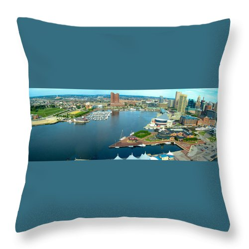 Baltimore Throw Pillow featuring the photograph Inner Harbor Baltimore Panorama by Thomas Marchessault