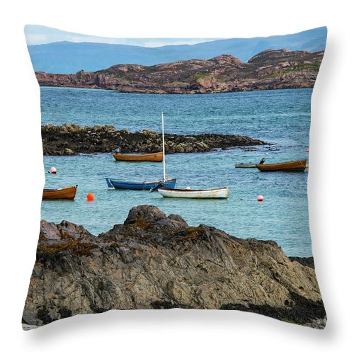 Isle Of Iona Throw Pillow featuring the photograph Inner Hebrides Transportaion by Bob Phillips