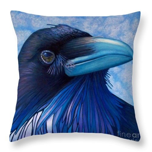 Raven Throw Pillow featuring the painting Inner Knowing by Brian Commerford