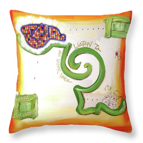 Gallery Throw Pillow featuring the painting Inner Voice by Dar Freeland