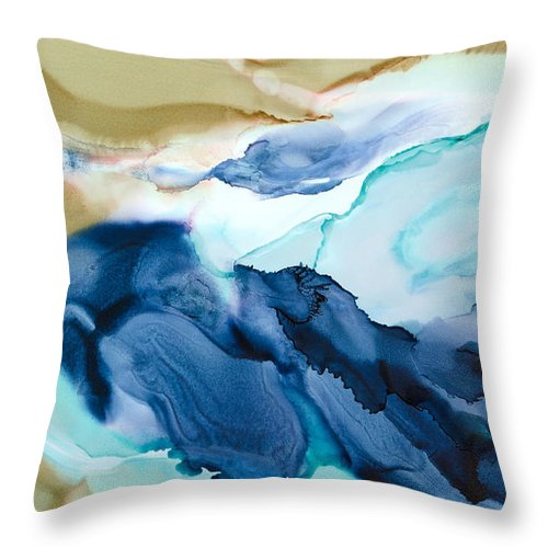 Abstract Throw Pillow featuring the painting Inner Worlds - A - by Sandy Sandy