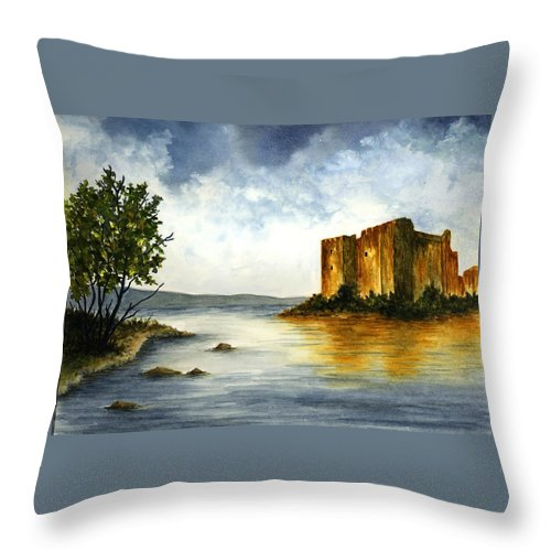 Castle Throw Pillow featuring the painting Innischonnel Castle by Michael Vigliotti