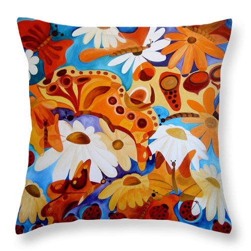 Abstract Throw Pillow featuring the painting Innocence And Candor by Elena Bissinger