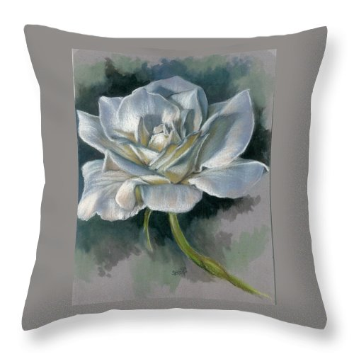 Rose Throw Pillow featuring the mixed media Innocence by Barbara Keith