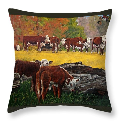 Landscape Throw Pillow featuring the painting Inquisitive by Peter Muzyka