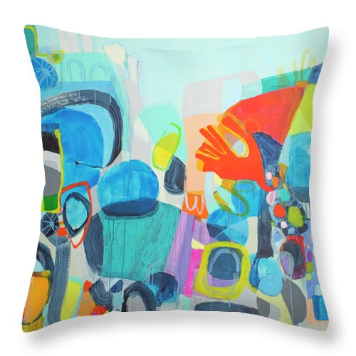 Abstract Throw Pillow featuring the painting Insatiable by Claire Desjardins