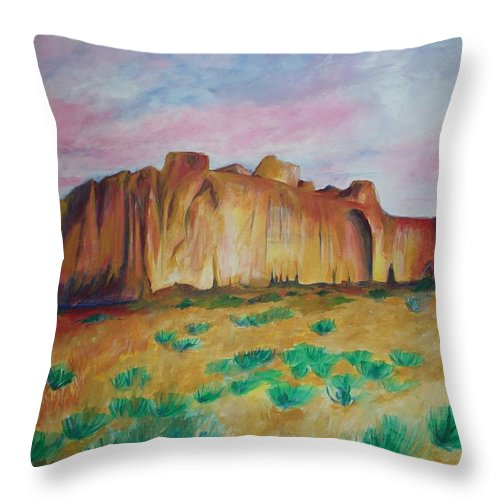 Western Landscapes Throw Pillow featuring the painting Inscription Rock by Eric Schiabor