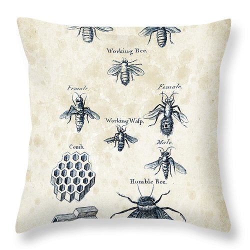 Bee Throw Pillow featuring the digital art Insects - 1792 - 14 by Aged Pixel